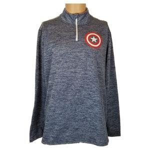 Marvel Captain America Mens Sweater Sz XL 1/4 Zip